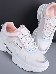 cheap -Women's Trainers Athletic Shoes Wedge Heel Round Toe Mesh Lace-up Camouflage Pink / White White / Purple White / Green