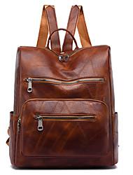 cheap -Women's PU Leather School Bag Rucksack Commuter Backpack Waterproof Zipper Daily Backpack Wine Black Brown Coffee