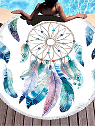 cheap -factory direct sale dream catcher round printed beach towel microfiber plus tassels feel soft and customizable logo