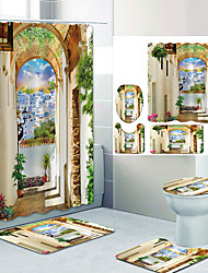 cheap -High-End House With Earth Wall Digital Printing Four-piece Set Shower Curtains and Hooks Modern Polyester Machine Made Waterproof Bathroom