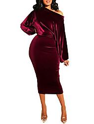 cheap -echoine velvet dress for women elegant valentine off shoulder pencil midi party dress red