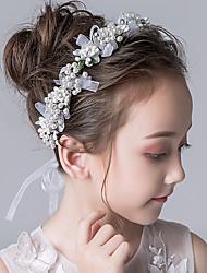cheap -Kids Baby Girls' 1pcs Children's Wreath Headdress Mori Milky White Flower Head Beautiful Braided Bridal Hair Accessories  Pearl Flower Girl Accessories