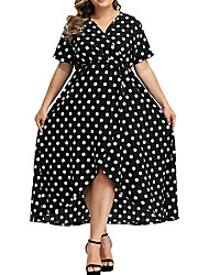 cheap -Women's Plus Size Polka Dot Ruffle Wrap Short Sleeve Summer Maxi long Dress Swing Dress