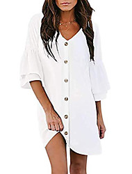 cheap -women 3/4 sleeve v neck dresses casual summer dress ruffles sleeve mini dress (medium, white)