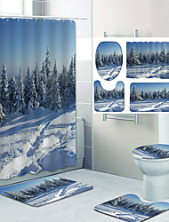 cheap -Beautiful Snow Scene Pattern Printing Bathroom Shower Curtain Leisure Toilet Four-Piece Design