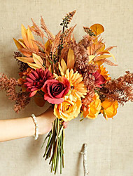cheap -Head Multi Style Simulation Flower Autumn Series Bouquet Rose Chrysanthemum Withered Grass Leaves