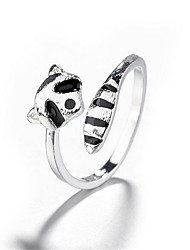 cheap -Ring 3D Silver Copper Silver-Plated Precious Fashion 1pc Adjustable / Women's / Open Cuff Ring / Adjustable Ring