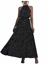cheap -aurorax 2020 new womens bohemian casual floral printed maxi dress summer soft sleeveless dress with belt (black 13, l)