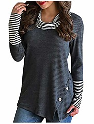cheap -totamala womens sweaters pullover splice stripe button long sleeve cowl neck knit lady tops blouse (dark gray xl)