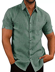cheap -Men's Shirt Solid Colored Short Sleeve Daily Tops Basic Elegant White Black Khaki