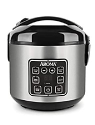 cheap -aroma utensils 2-8 cups (boiled) digital cool-touch rice cooker and food steamer, stainless steel, 8 cups, silver