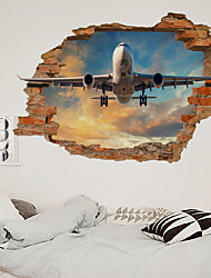 cheap -3D New Broken Wall Air Plane Living Room Bedroom Corridor Decoration Can Be Removed Stickers