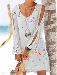 cheap -2021 cross-border independent station off-the-shoulder hollow long-sleeved butterfly print round neck dress