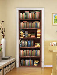 """cheap -2pcs Self-adhesive Bookcase Creative Door Stickers For Living Room Diy Decoration Home Waterproof Wall Stickers 30.3""""x78.7""""(77x200cm), 2 PCS Set"""