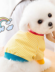cheap -Dog Cat Shirt / T-Shirt Vest Plaid Basic Adorable Cute Casual / Daily Dog Clothes Puppy Clothes Dog Outfits Breathable Yellow Costume for Girl and Boy Dog Cotton Fabric XS S M L XL XXL