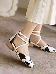 cheap -Women's Sandals Chunky Heel Round Toe PU Buckle Solid Colored Snake Black / White White Black