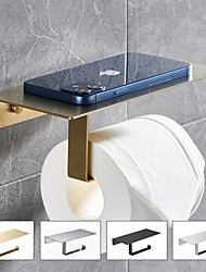 cheap -Multi-function Toilet Paper Shelf with Phone Storage Stainless Steel Storage Roll Holder Wall-mounted with Screws for Bathroom