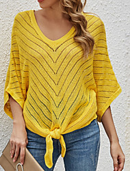 cheap -Women's Knitted Solid Color Sweater Half Sleeve Sweater Cardigans V Neck Fall Spring Black Yellow