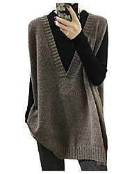 cheap -ladyful women's vintage v neck knitted sweater vest baggy fit sleeveless pullover top