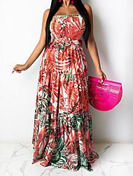 cheap -Women's Plus Size Graphic Leaf Patchwork Summer Swing Dress