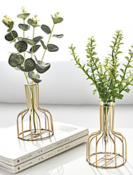 cheap -Nordic Iron Geometric Hydroponic Vase Dry Flower Ornament Living Room Dining Table Flower Arrangement Tabletop Ornament