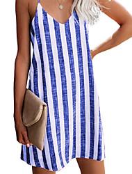 cheap -Women's Strap Dress Knee Length Dress Blue Purple Gray khaki Black Red Sleeveless Stripes Spring Summer Casual / Daily 2021 S M L XL 2XL 3XL