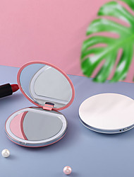 cheap -Luminous Mini Portable LED Makeup Mirror With Light To Make Up Girls Portable Round Folding Small Mirror