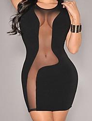 cheap -Women's Sheath Dress Short Mini Dress Black Sleeveless Solid Color Summer Round Neck Sexy 2021 S M L XL