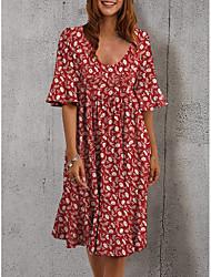 cheap -2021 cross-border wish amazon ebay new half-sleeved elegant dress cross-border printed loose mid-length skirt