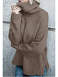 cheap -Women's Casual / Daily Knitted Solid Color Pullover Long Sleeve Sweater Cardigans Turtleneck Fall Spring Black Wine Army Green
