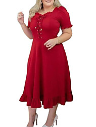 cheap -Women's Plus Size Dress A Line Dress Maxi long Dress Short Sleeve Plain Drawstring Classic Summer L XL XXL XXXL 4XL