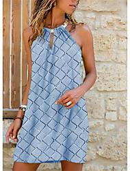 cheap -2021 new summer european and american cross-border fashion women's wish amazon mid-length metal halter plaid dress