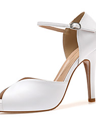 cheap -Women's Heels High Heel Open Toe Faux Leather White Black Gold