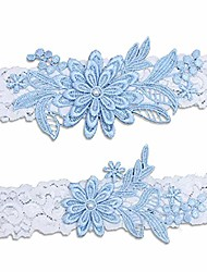 cheap -wedding garters for bride, blue white bridal lace garter set with pearl.