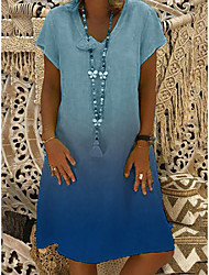 cheap -Women's Shift Dress Knee Length Dress Yellow Green Dusty Blue Black Red Light Blue Short Sleeve Color Gradient Spring Summer Elegant 2021 S M L XL XXL 3XL