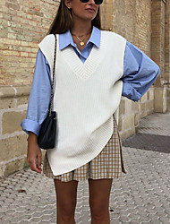 cheap -amazon aliexpress cross-border european and american commuter v-neck sweater vest women knitting 2021 spring new
