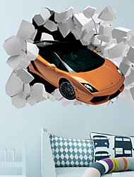 cheap -3D Broken Wall Race Car Home Hallway Background Decoration Can Be Removed Stickers