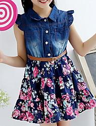 baratos -Infantil Pouco Para Meninas Vestido Floral Vestido Tutu Estampado Azul Altura dos Joelhos Sem Manga Básico Tutos e Saias Vestidos Verão Normal 1-12 anos