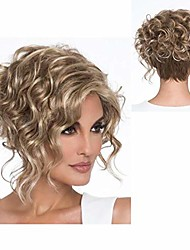cheap -baruisi short curly blonde wigs for women synthetic heat resistant side part halloween cosplay hair wig