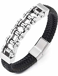 cheap -coolsteelandbeyond mens stainless steel blue motorcycle bike chain bracelet black braided leather bangle, magnetic clasp