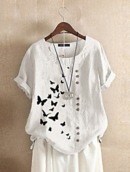 cheap -2020 summer retro plus size casual loose cotton and linen printed butterfly short-sleeved pullover t-shirt cotton and linen women's clothing