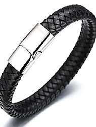 """cheap -halukakah ● solo ● men's genuine leather bracelet classic style titanium clasp with magnets 8.46""""(21.5cm) with free giftbox"""