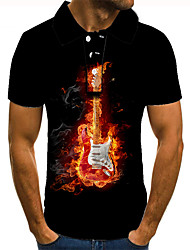 cheap -Men's Golf Shirt Tennis Shirt 3D Print Graphic Prints Guitar Button-Down Short Sleeve Street Tops Casual Fashion Cool Black / Sports