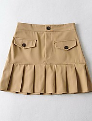 cheap -Women's Homecoming Vacation Vintage Preppy Skirts Solid Colored Ruffle Black Khaki