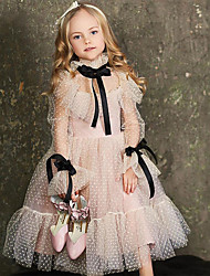 cheap -Ball Gown Tea Length Birthday / Formal Evening Flower Girl Dresses - Polyester Long Sleeve Jewel Neck with Lace / Tier