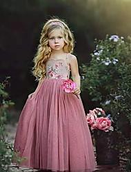 baratos -Infantil Pouco Para Meninas Vestido Floral Vestido Tutu Com Transparência Estampado Rosa Longo Sem Manga Básico Tutos e Saias Vestidos Verão Normal 3-10 anos