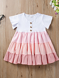 cheap -Kids Little Girls' Dress Graphic Print Blushing Pink Knee-length Short Sleeve Active Dresses Summer Regular Fit 2-6 Years