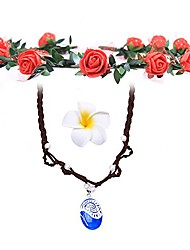cheap -leecco girl pendant necklace for princess moana cosplay with floral wreath headband & flower hair clip,moana movie costume accessories,necklace for girl children birthday party dress up
