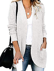 cheap -flovey womens long sleeve open front cardigans chunky knit draped sweaters outwear with pockets white