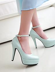 cheap -Women's Heels Stiletto Heel Round Toe PU Synthetics White Black Blue